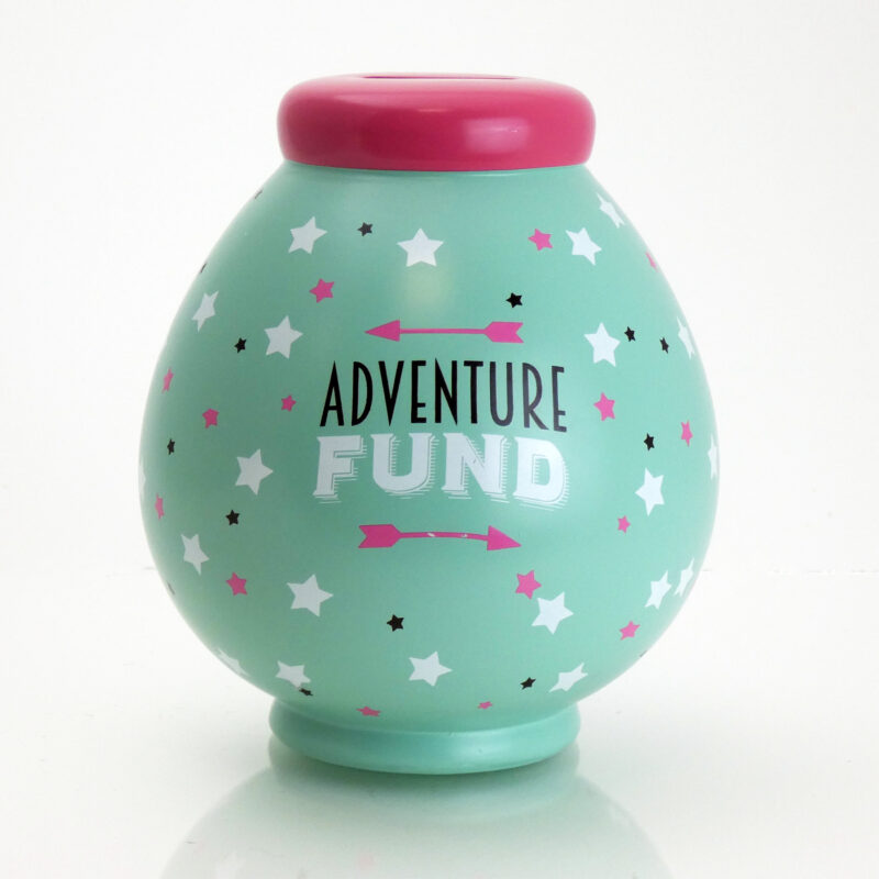 Adventure Fund savings pot front view