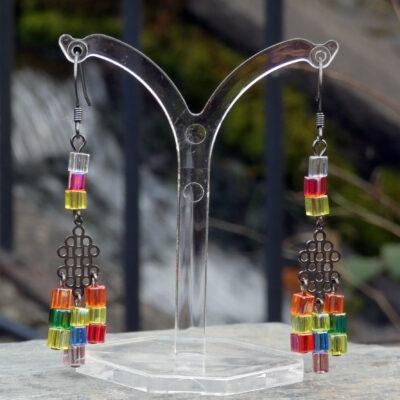 Peyote Stitch Miyuki Cube Rainbow Earrings - Just4Ewe Jewellery