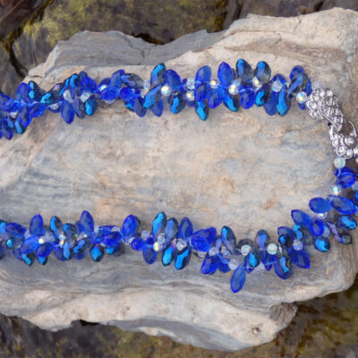 Twisted Crystal Necklace Cobalt Blue - Just4Ewe Jewellery