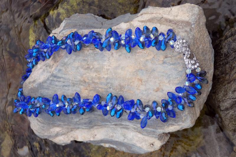 Twisted Crystal Necklace Cobalt Blue - Just4Ewe Jewellery