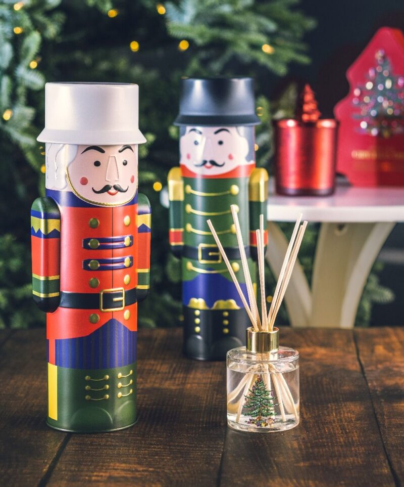 Christmas Tree Reed Diffuser in Nutcracker Tin
