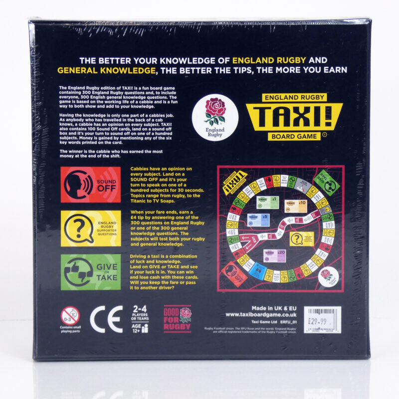 English Rugby Taxi Board Game Back