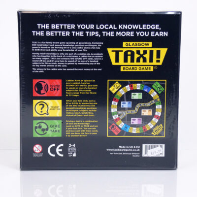 Glasgow Taxi Board Game Back