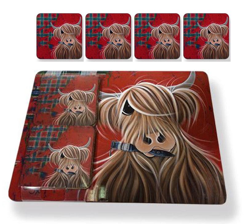 McMoo Tartan Placemat & Coaster Set