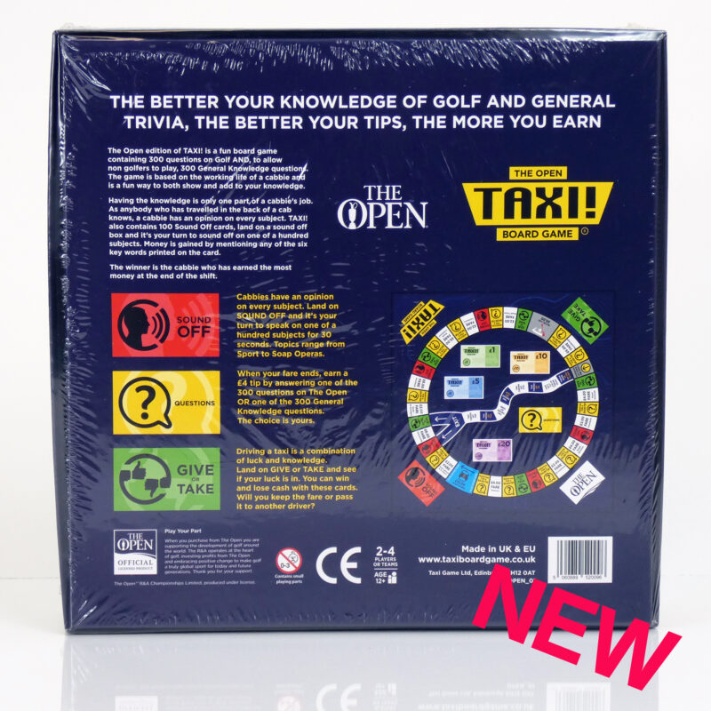 The Open Golf Taxi Board Game Back