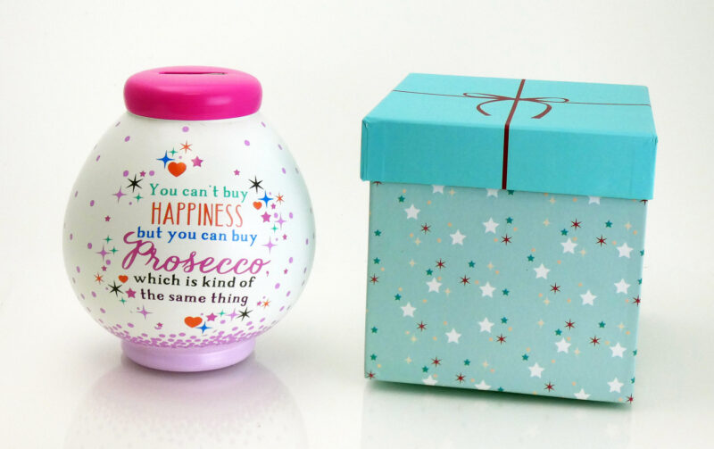 Prosecco Fund Savings Pot with Box